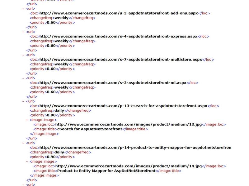 xml sitemap generator for aspdotnetstorefront